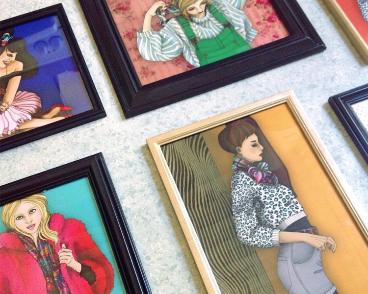 foulard lyon cadre illustrations deco portraits