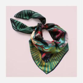 foulard lyon carre fleurs tropical viree exotique turquoise soie