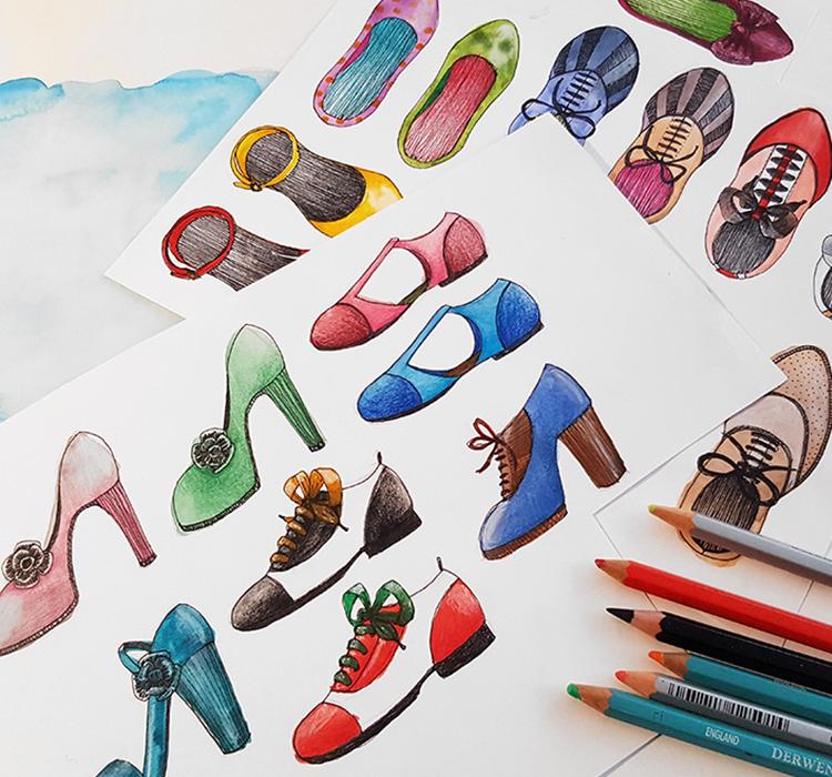 foulard lyon chaussures dessin couleurs