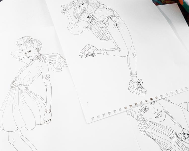 foulard lyon dessin femme-cartes-illustrations