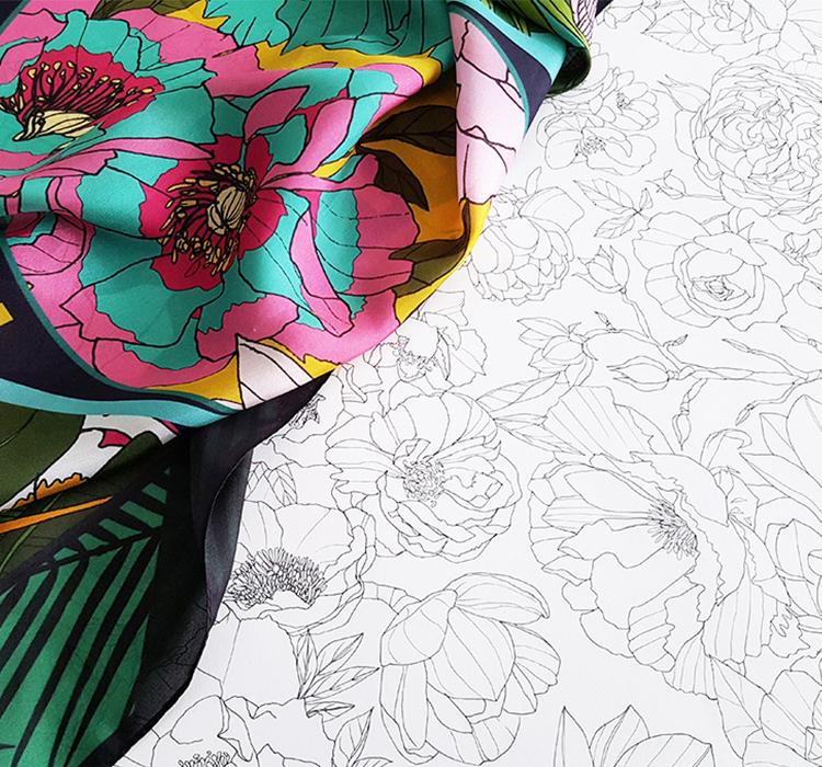 foulard lyon dessin fleurs illustrations