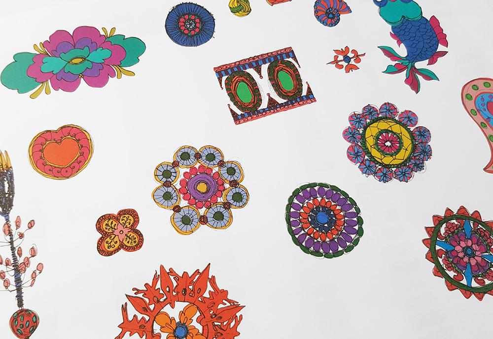 foulard lyon dessin inspiration ethnique
