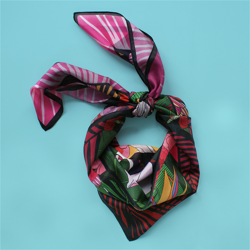 foulard lyon fleurs tropical viree exotique rose soie