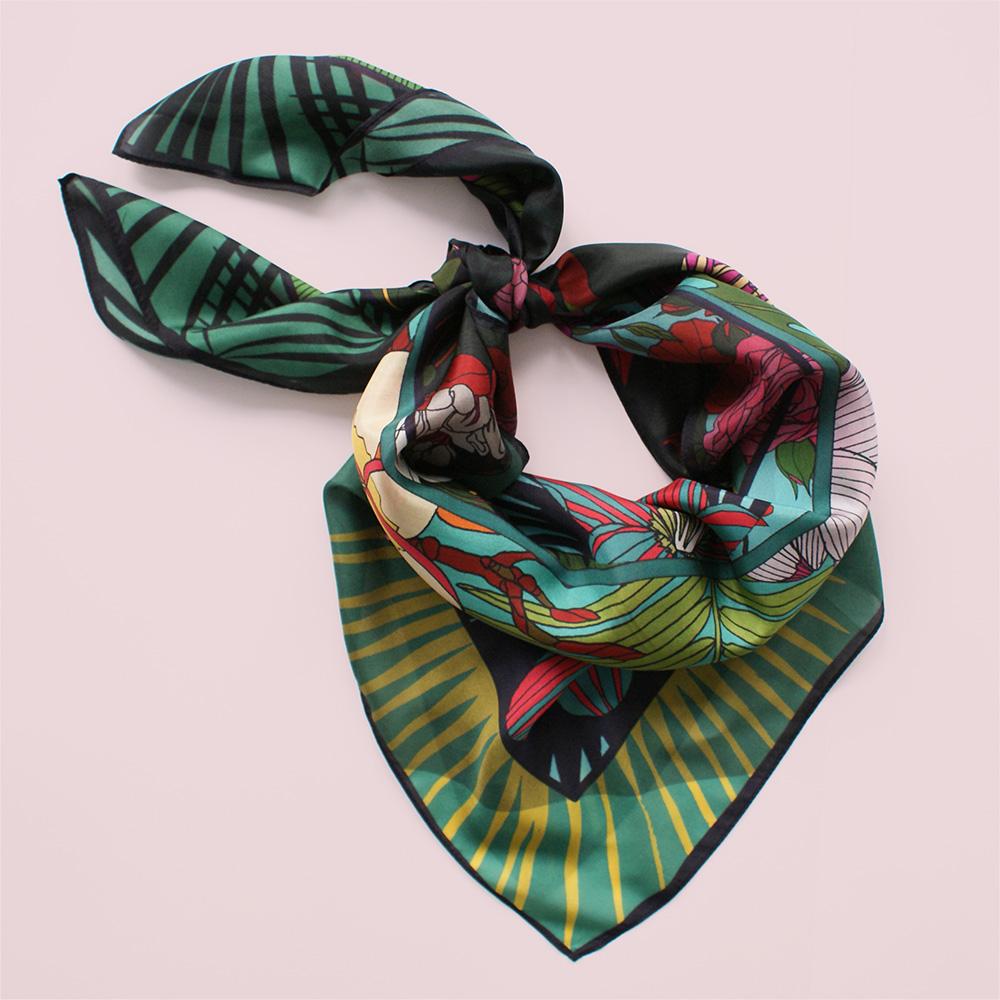 foulard lyon fleurs tropical viree exotique turquoise soie