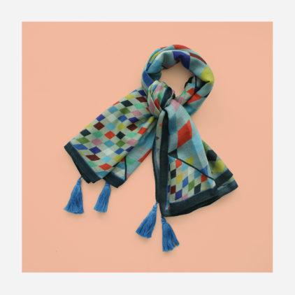 foulard lyon laine etole echarpe arlequin bleu