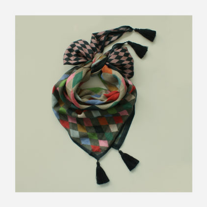 foulard lyon laine etole echarpe arlequin poudre
