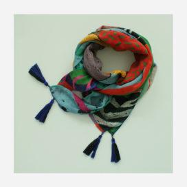 foulard lyon laine etole echarpe peinture primitiv