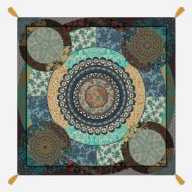 foulard lyon laine fleurs oriental ornement orient vert bleu