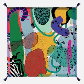 foulard lyon laine peinture pink primitv vert bleu