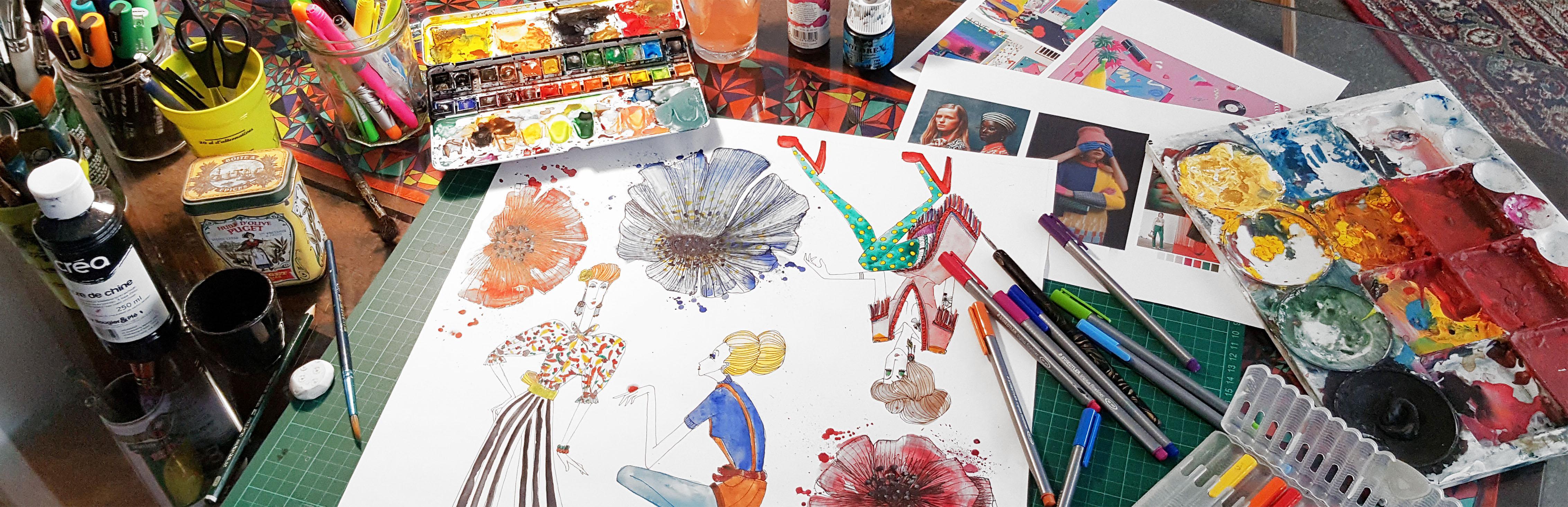 foulard lyon peinture illustration work in progress