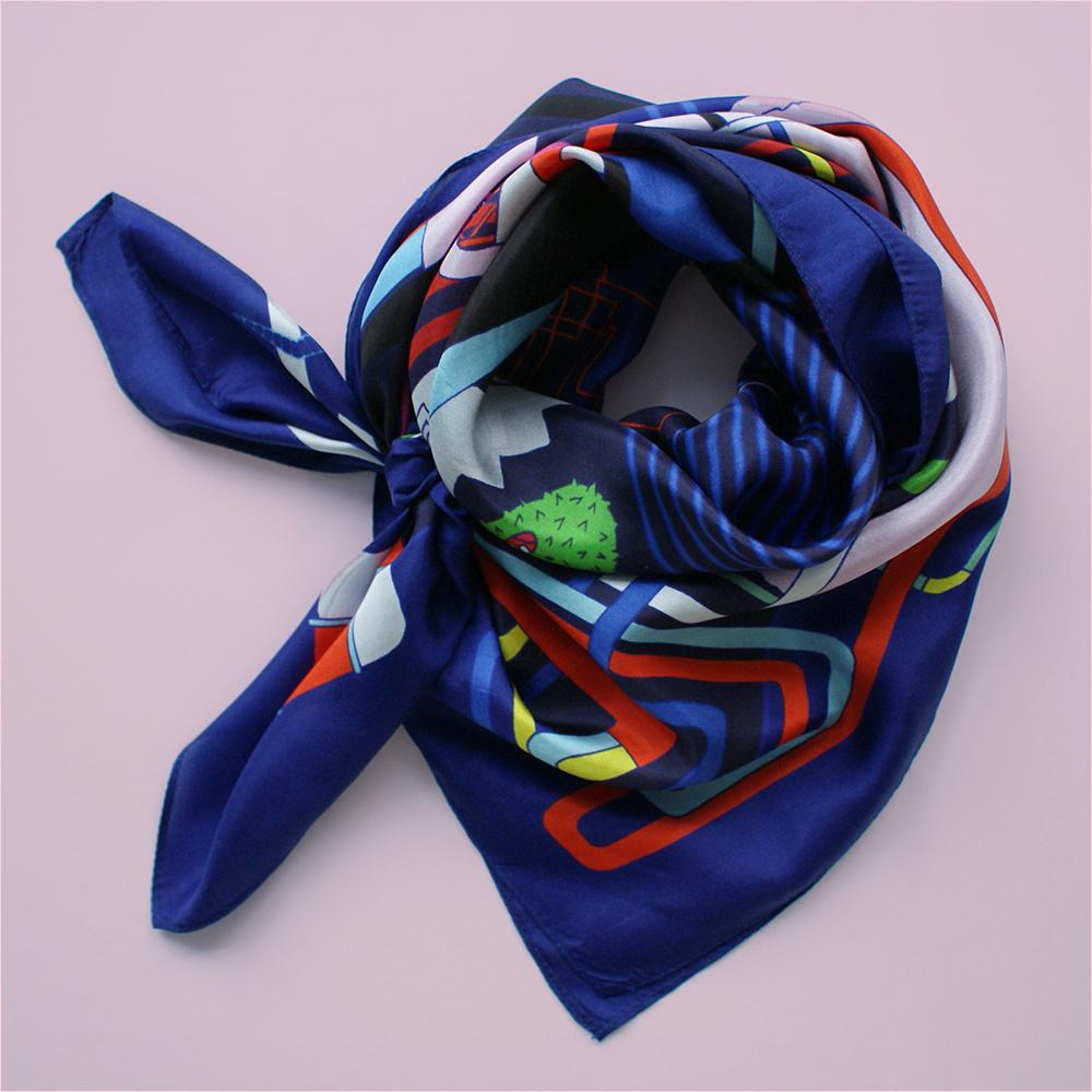 foulard lyon soie bleu dessin blue factory