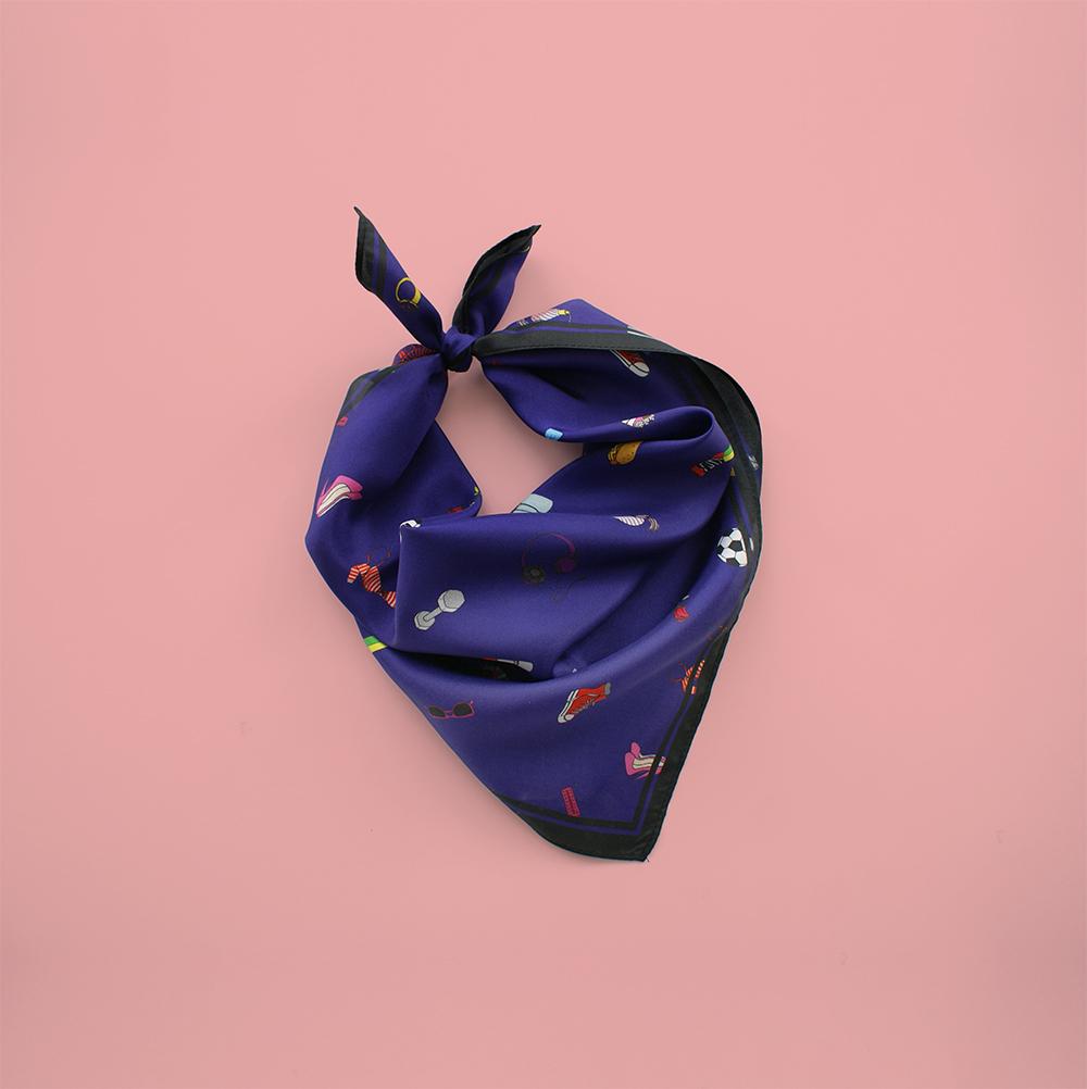 foulard lyon soie bleu fashion bazar blue