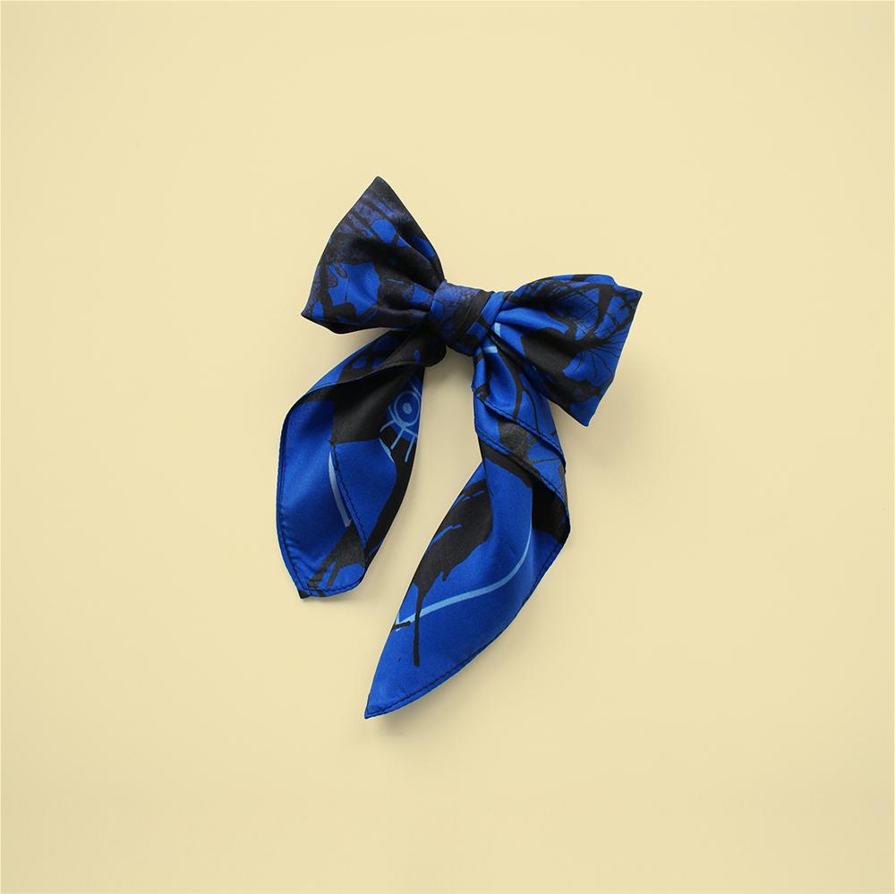 foulard lyon soie bleu noir blue splash