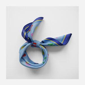 foulard lyon soie carre bleu cryptogram bluesky
