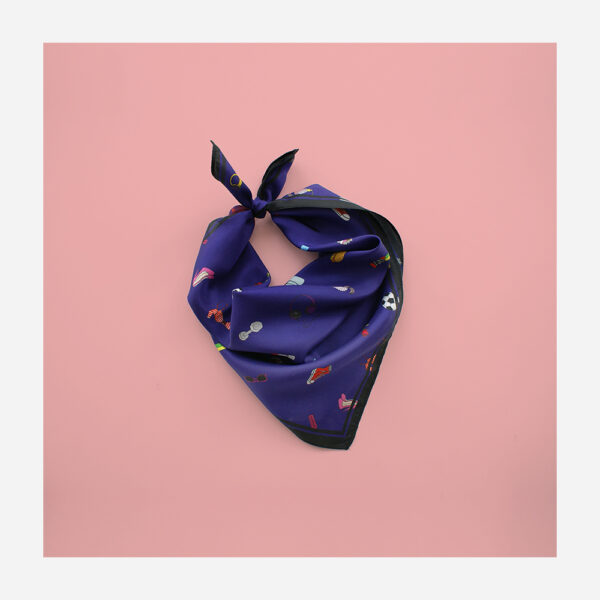 foulard lyon soie carre bleu fashion bazar blue