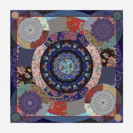 foulard lyon soie carre bleu fleurs marie motif