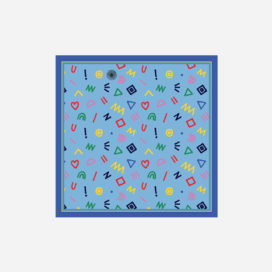foulard lyon soie carre bleu pop cryptogram blue sky