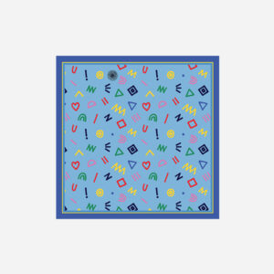 foulard lyon soie carre bleu pop cryptogram blue sky