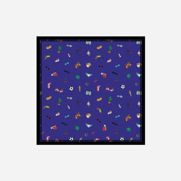 foulard lyon soie carre bleu pop objets fashion bazar bleu