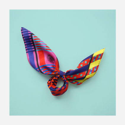 foulard lyon soie carre couleurs rayures old school