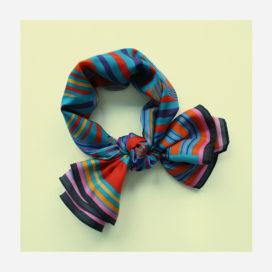 foulard lyon soie carre electro pop turquoise
