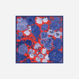 foulard lyon soie carre fleurs bleues orange