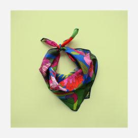 foulard lyon soie carre fleurs exotique tropical flowers