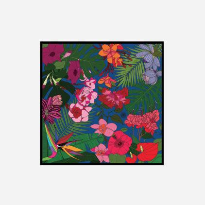 foulard lyon soie carre fleurs jungle tropical flowers