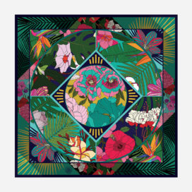 foulard lyon soie carre fleurs viree exotique turquoise tropical
