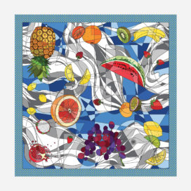 foulard lyon soie carre fruits couleurs clementine motif