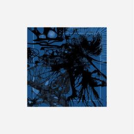 foulard lyon soie carre noir bleu blue splash