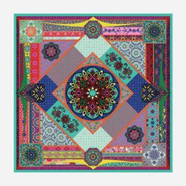foulard lyon soie carre oriental sarah motif