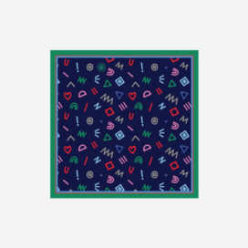 foulard lyon soie carre pop marine cryptogram blue