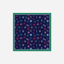 foulard lyon soie carre pop marine cryptogram blue