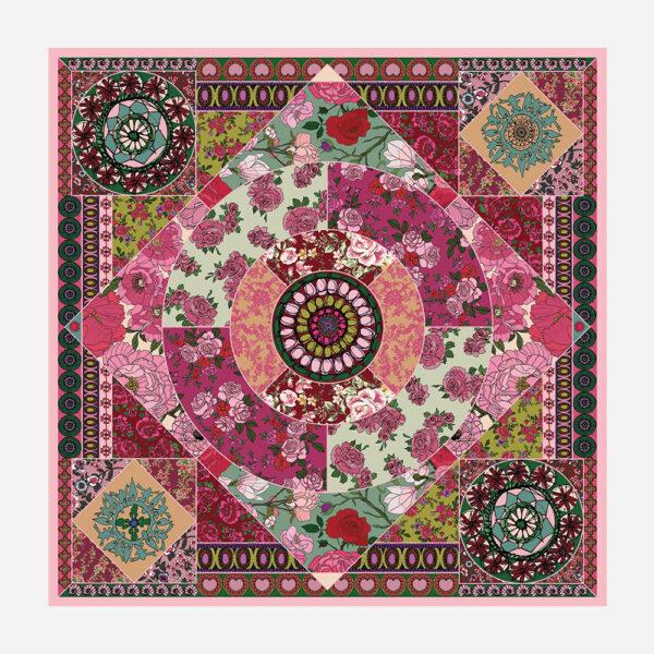 foulard lyon soie carre rose boheme fleurs
