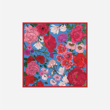 foulard lyon soie carre rose bouquet de fleur