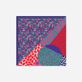 foulard lyon soie carre rose rouge bleu blue naive