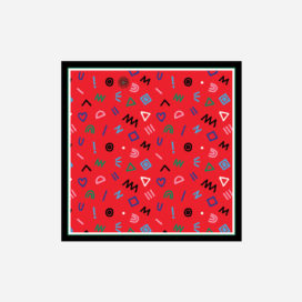 foulard lyon soie carre rouge pop cryptogram red