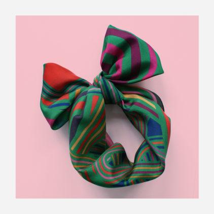 foulard lyon soie carre vert electro pop green