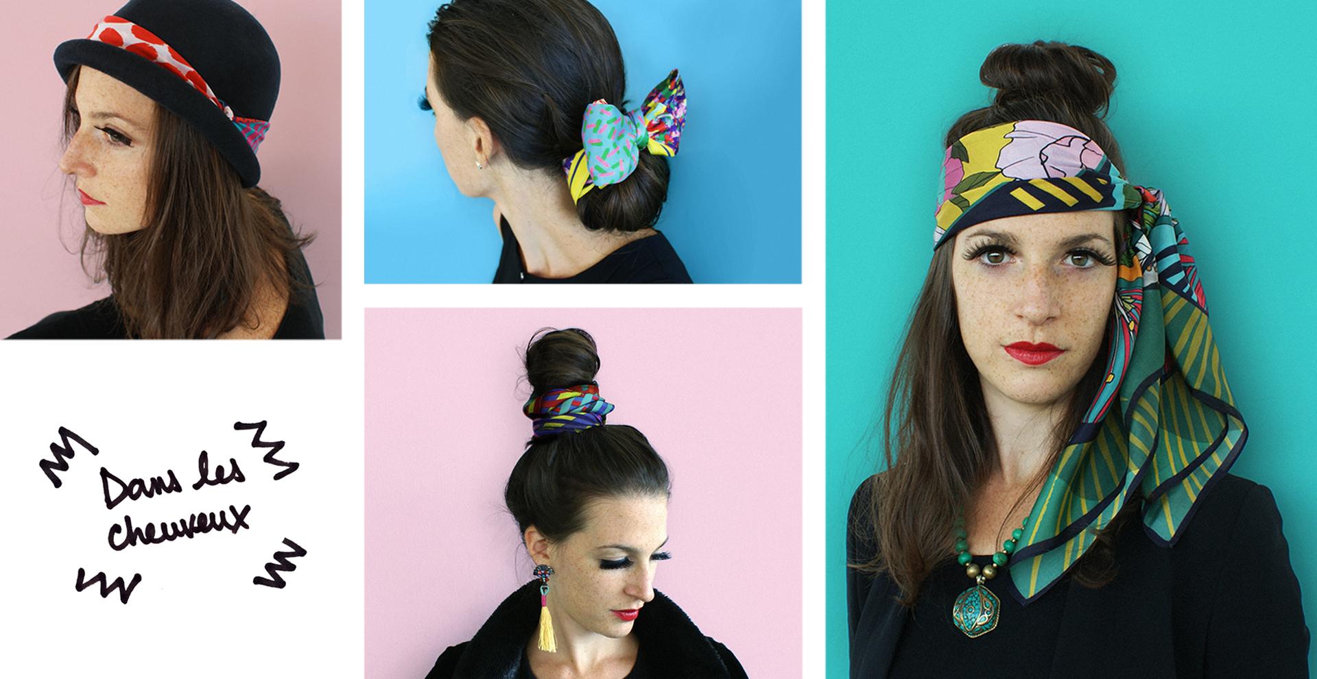 foulard lyon soie cheveux chapeau