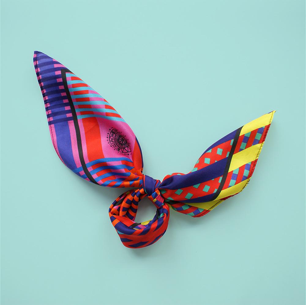 foulard lyon soie couleurs rayures old school