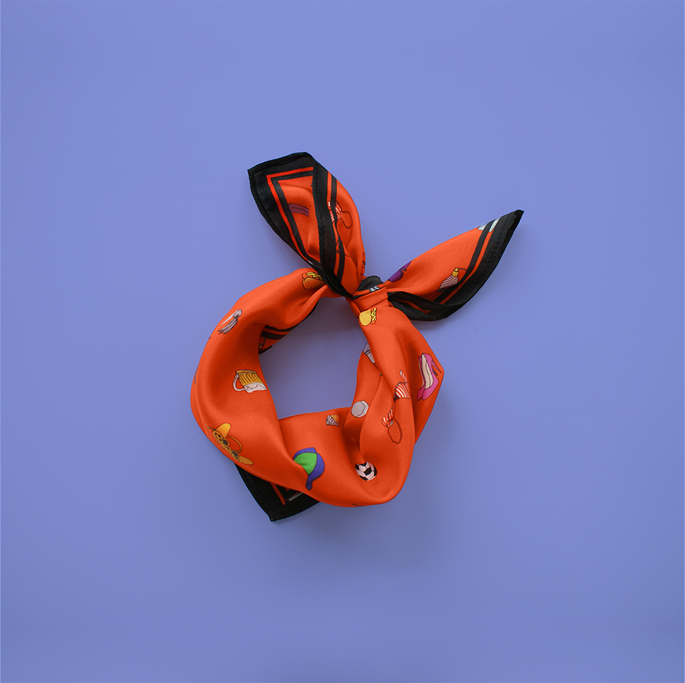 foulard lyon soie fashion bazar orange