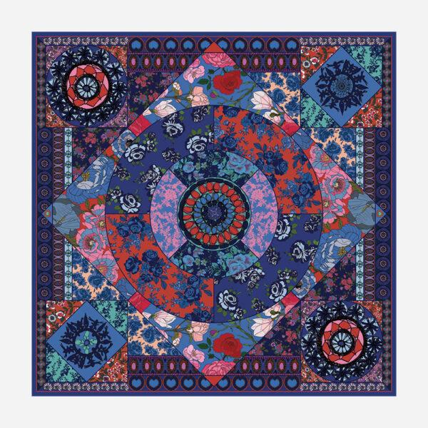 foulard lyon soie fleurs bleue boheme oriental