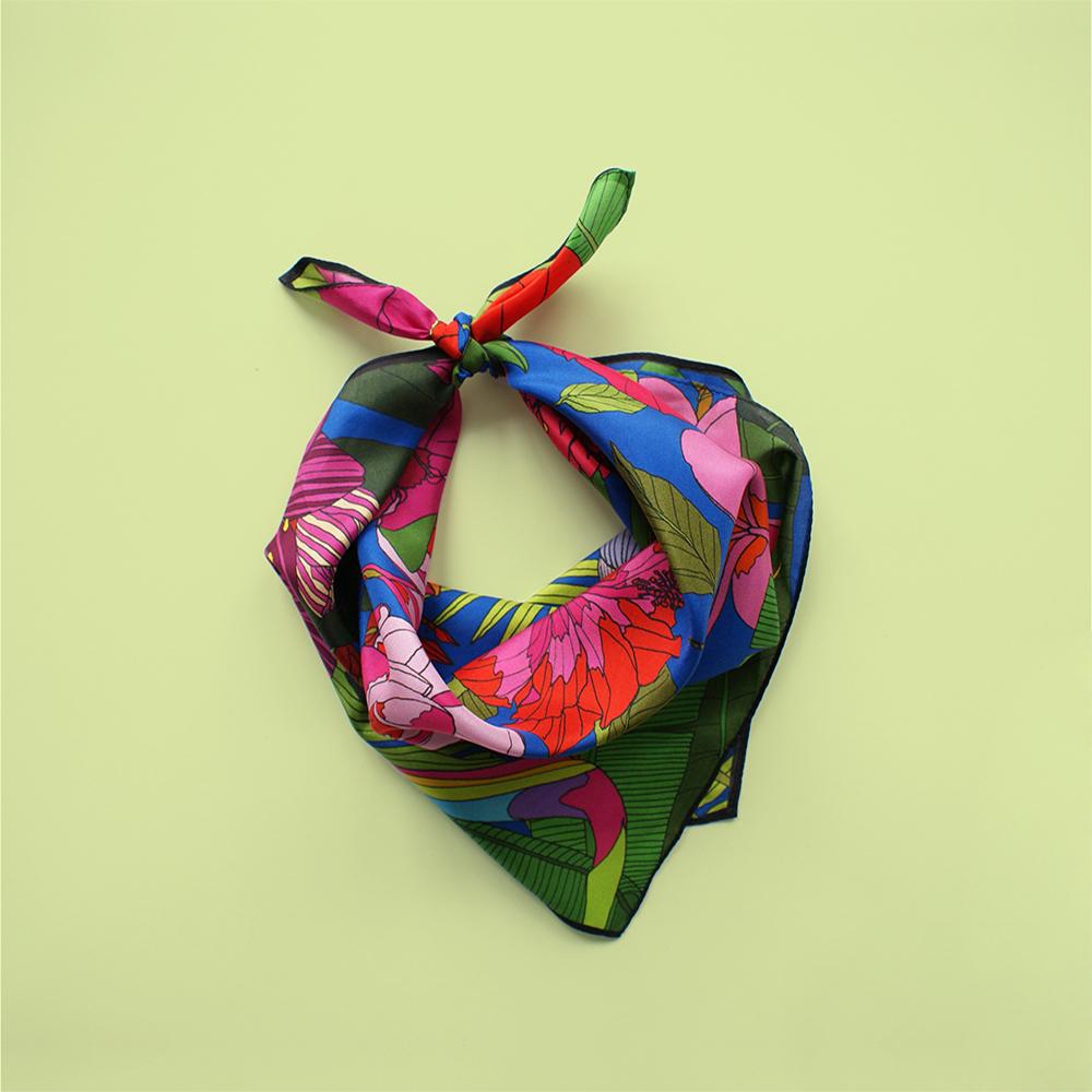 foulard lyon soie fleurs exotique tropical flowers 1
