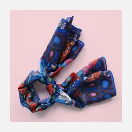 foulard lyon soie fleurs oriental bleue boheme