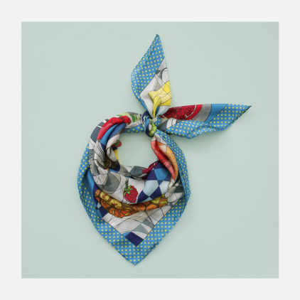 foulard lyon soie fruits clementine porter banane