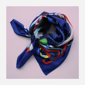 foulard lyon soie porte bleu dessin blue factory