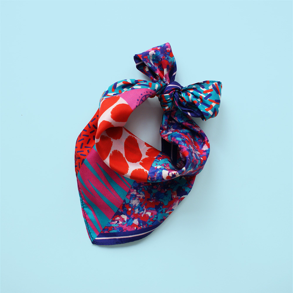 foulard lyon soie rouge rose bleu afrique blue naive