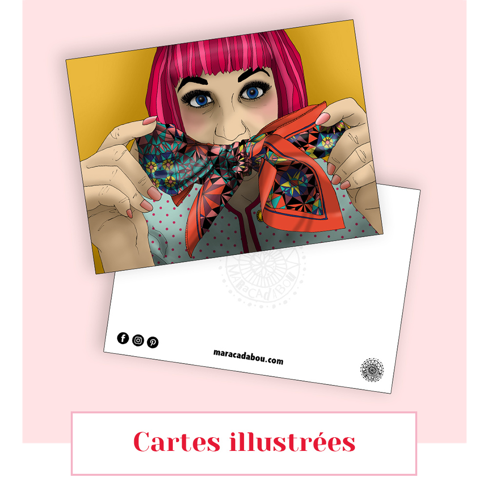 carte illustation lyon dessin foulard