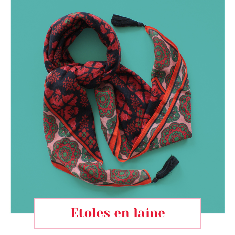 etoles en laine motif lyon foulard